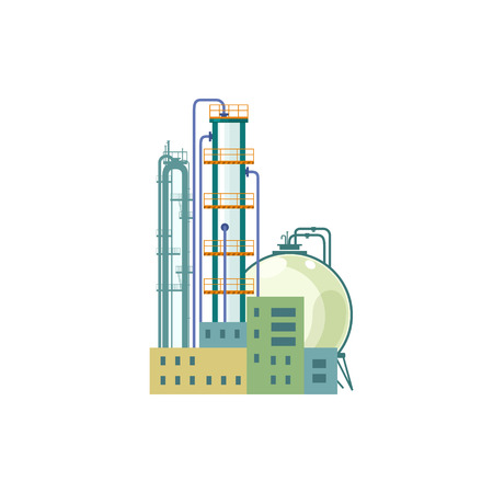 pollutants: Industrial Chemical Plant Isolated on White Background, Refinery Processing of Natural Resources, Industrial Pipes and Tanks, Vector Illustration