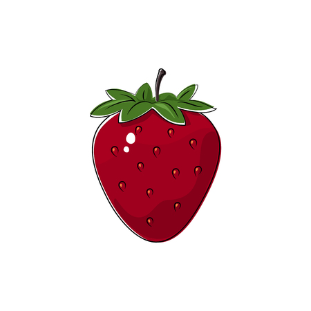 ripened: Red Berry Strawberry Isolated on White, Fruit Strawberry , Vector Illustration Illustration