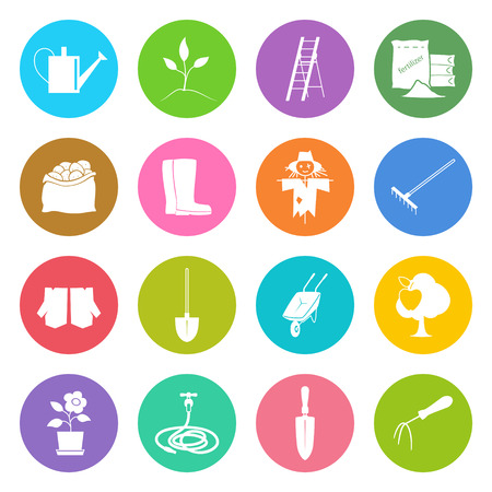 bagful: Set of Garden Tools, Round Bright Multicolored Icons Gardening Equipment , Agricultural Tool , Vector Illustration Illustration