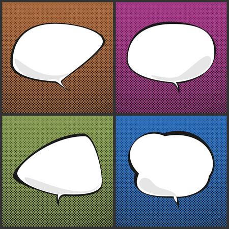 converse: Set of Speech Bubbles on Background with Dots ,Four Speech Bubbles on Pop Art Background, Speech Bubble on Halftone Background, Retro Style, Vector Illustration
