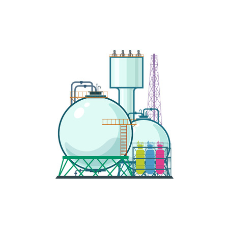 pollutants: Industrial Plant Isolated on White Background, Refinery Processing of Natural Resources, Industrial Pipes and Tanks, Chemical Industry, Vector Illustration