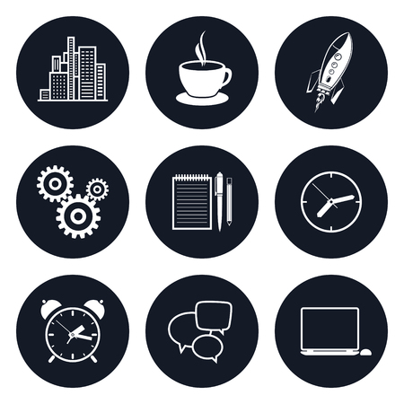long hours: Set of Round Business Icons, Office Work, Team Work, Long Hours in the Office, Presentation and Discussion, Black and White Vector Illustration