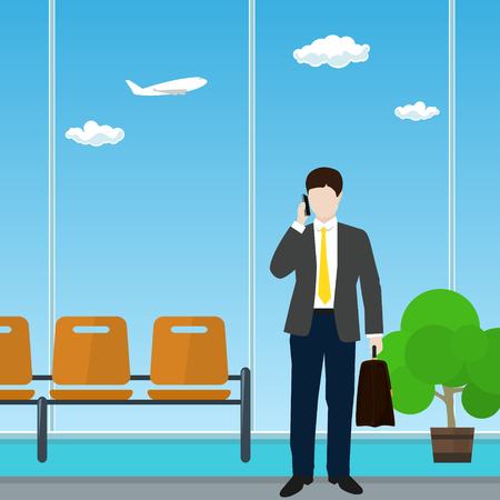 aerodrome: Man with a Briefcase Talking on the Phone in a Waiting Room, Waiting Hall with Businessman, Travel and Tourism Concept, Flat Design, Vector Illustration Illustration