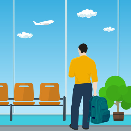 aerodrome: Man with a Backpack Looking out the Window in a Waiting Room, Waiting Hall with Guy, Travel and Tourism Concept, Flat Design, Vector Illustration