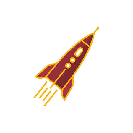 endeavor: Rocket, Spaceship Isolated on White Background, Vector Illustration Illustration