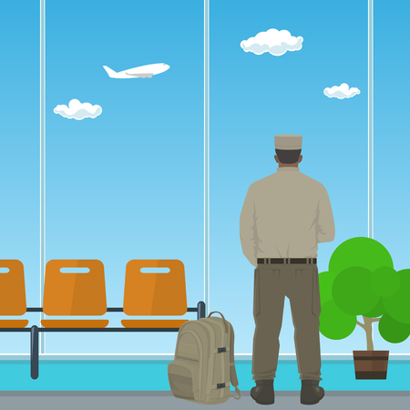 man looking out: Man in Uniform Looking out the Window in a Waiting Room, Waiting Hall with a Man, Flat Design, Vector Illustration