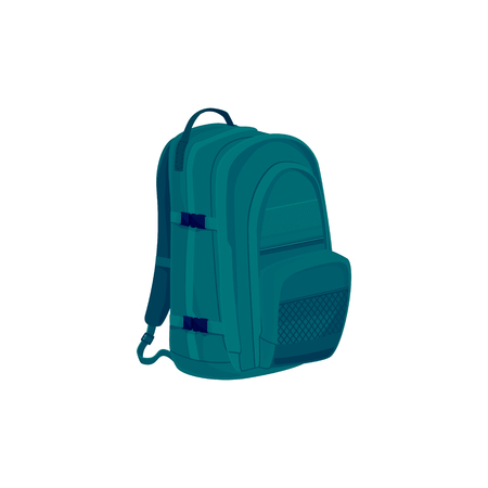 luggage bag: Green Backpack Isolated on White, a Luggage Bag for Traveling, Travel Bag, Vector Illustration
