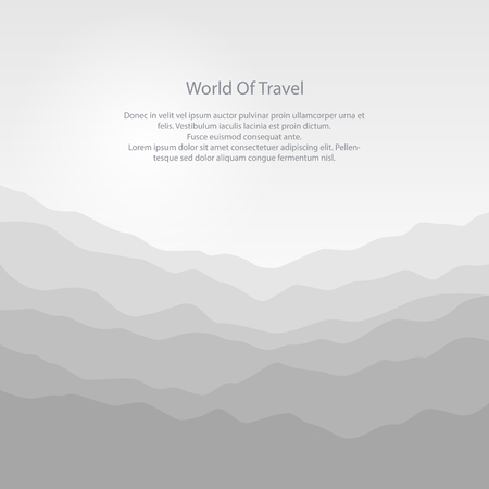 ranges: Silhouette of the Mountains at Sunrise and Text, View of the Mountains in the Morning, Mountain Ranges in Shades of Gray, Misty Mountains, Waves, Travel and Tourism Concept, Vector Illustration