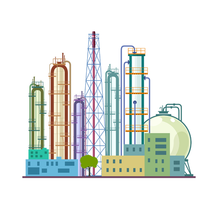 Chemical Plant Isolated on White Background, Refinery Processing of Natural Resources, Industrial Pipes and Tanks, Vector Illustration