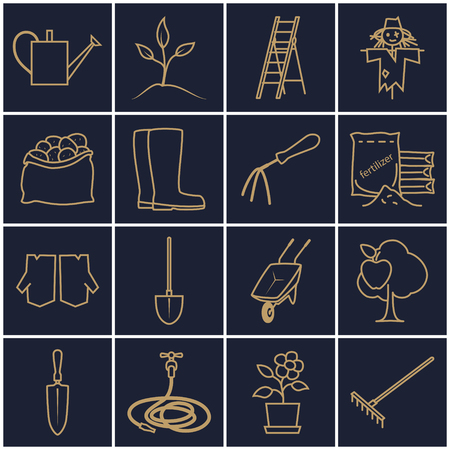 bagful: Set of Garden Tools, Line Icons Gardening Equipment , Agricultural Tool , Gold Icons on a Dark Background, Vector Illustration Illustration