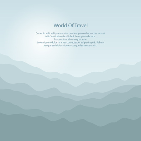 overlooking: Silhouette of the Mountains at Sunrise and Text, View of the Mountains in the Morning, Mountain Ranges in Shades of Green, Waves, Travel and Tourism Concept, Vector Illustration Illustration
