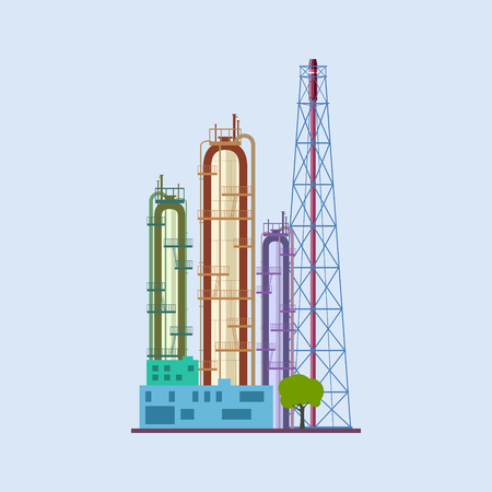 pollutants: Chemical Plant Isolated , Refinery Processing of Natural Resources, Industrial Pipes , Vector Illustration