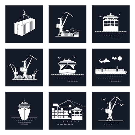 unloading: Set of Cargo Icons, Dry Cargo Ship and Container Ship, Unloading Containers from a Cargo Ship in a Docks with Cargo Crane, Container , International Freight Transportation, Vector Illustration