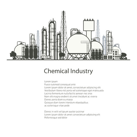 industry poster: Industrial Chemical Plant Isolated on White Background , Refinery Processing of Natural Resources, Chemical Industry, Poster Brochure Flyer Design, Vector Illustration