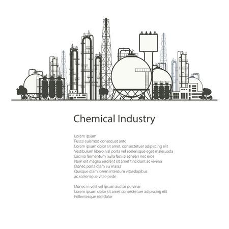 industria quimica: Planta industrial química aislada en el fondo blanco, de refino de Recursos Naturales, Industria Química, Póster Folleto folleto de diseño, ilustración vectorial Vectores