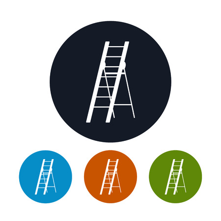 stepladder: Icon Ladder, Four Types of Round Icons Stepladder, Construction and Gardening Tool , Vector Illustration