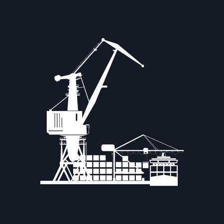 docks: Cargo Seaport Isolated on Black Background , Unloading Containers from a Cargo Ship in a Docks with Cargo Crane