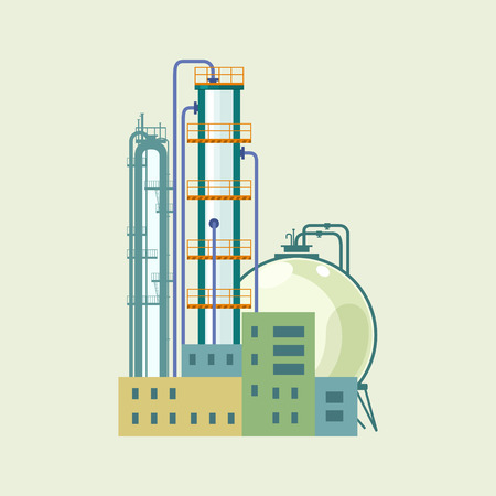 pollutants: Industrial Chemical Plant Isolated , Refinery Processing of Natural Resources, Industrial Pipes and Tanks, Vector Illustration