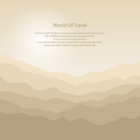 Mountain Landscape , the Silhouette of the Mountains at Sunrise and Text Illustration