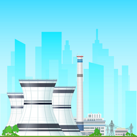 thermal power plant: Nuclear Power Plant on the Background of the City, Thermal Power Station