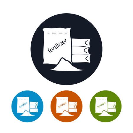 Icône d'engrais, quatre types de ronde icônes d'engrais, industrie agricole, vecteur Illustration