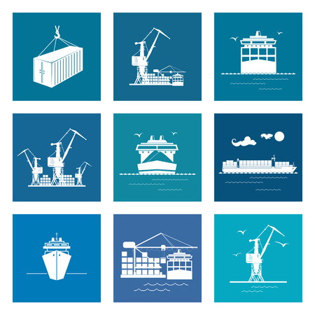 docks: Set of Marine Cargo Icons, Dry Cargo Ship and Container Ship, Unloading Containers from a Cargo Ship in a Docks with Cargo Crane, Container , International Freight Transportation, Vector