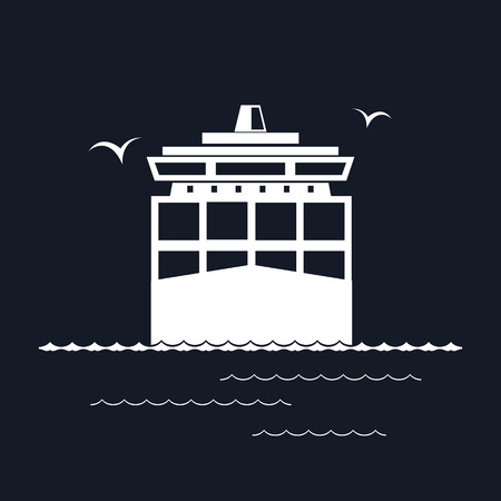 cargo vessel: Front View of the Cargo Container Ship Isolated on Black Background, Industrial Marine Vessel with Containers on Board, International Freight Transportation, Vector Illustration