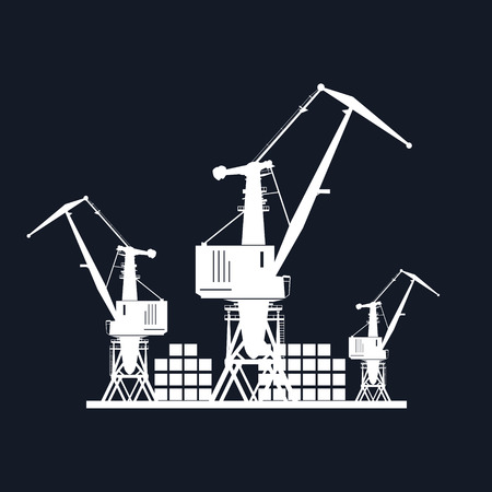 dockyard: Cargo Cranes and Containers at the Port Isolated on Black Background, Containers and Cranes at the Dock, International Freight Transportation, Vector Illustration