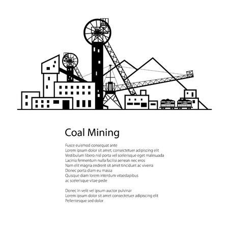 Coal Mine, komplexe Industrieanlagen mit Halde und mit Schienen-Autos, Kohleindustrie, Poster Broschüre Flyer Design, Vektor-Illustration