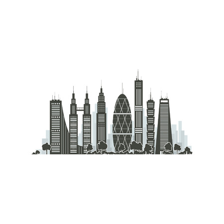 megapolis: Modern Big City with Buildings and Skyscraper Isolated on White Background , Architecture Megapolis, City Financial Center, Vector Illustration