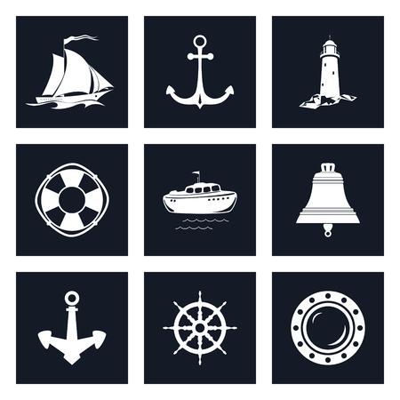 nautical vessel: Set of Marine Icons , Sailing Vessel and Anchor, Ship Wheel and Lifebuoy , Lifeboat and Porthole, Ship Bell and Lighthouse, Nautical Symbol, Ship Equipment Illustration