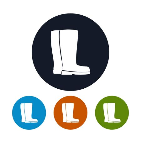 laborer: Icon Working Rubber Boots, Four Types of Round Icons Work Shoes, for Working in the Garden, on the Farm, for Fishing, for Walking in the Forest, for Walk through the Puddles in the Rain