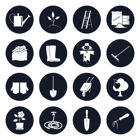 agricultural equipment: Set of Round Icons Garden Tools and Equipment , Icons Agricultural Tools Illustration