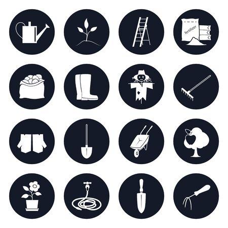 Set van ronde iconen Garden Tools and Equipment, Icons Landbouw Hulpmiddelen