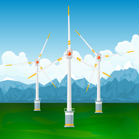 wind mills: Wind Turbines on a Background of Mountains, Horizontal Axis Wind Turbines on the Ground , Modern Low-Wind Turbine, Vector Illustration Illustration