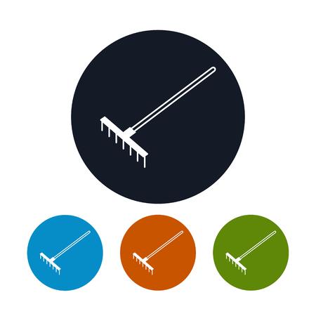 rake: Icon Garden Rake, Four Types of Round Icons Bow Rake, Agricultural Tool , Vector Illustration