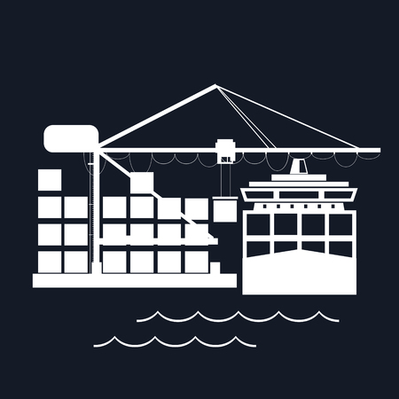 unloading: Cargo Container Ship at the Dock Isolated on Black Background, Unloading Containers from a Cargo Ship in a Seaport with Cargo Crane, International Freight Transportation, Vector Illustration Illustration