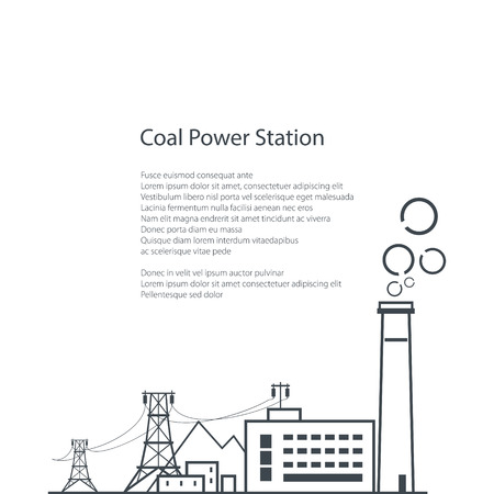industrial complex: Coal Power Station Isolated on White Background, Complex Industrial Facilities with the Power Line, Coal Industry, Poster Brochure Flyer Design, Vector Illustration