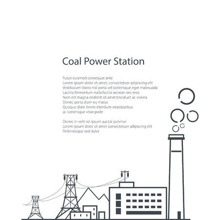 Kohle-Kraftwerk auf weißen Hintergrund, komplexe industrielle Einrichtungen mit der Stromleitung, Kohleindustrie, Poster Broschüre Flyer Design, Vector Illustration Vektorgrafik