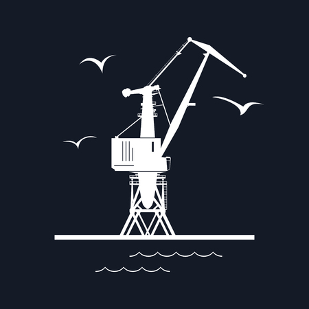 port: Marine Dockside Crane, Port Cargo Crane Isolated on Black Background, Vector Illustration Illustration