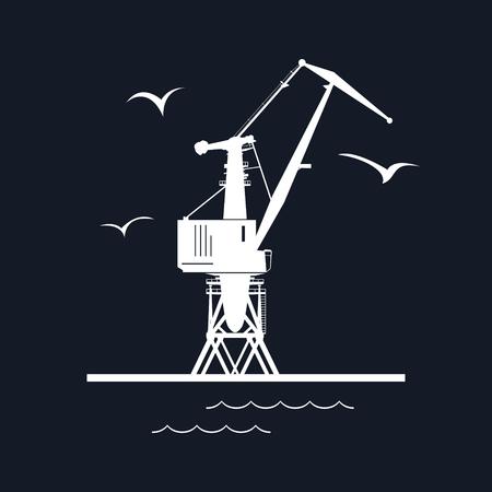 shipyard: Marine Dockside Crane, Port Cargo Crane Isolated on Black Background, Vector Illustration Illustration