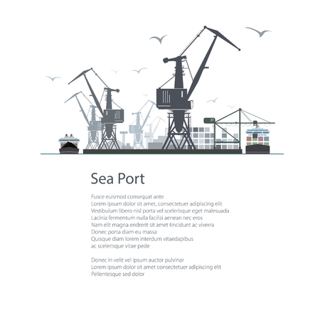 dock: Cargo Sea Port Isolated on White Background, Unloading of Cargo Containers from the Container Carrier, Cranes and Vessels in Dock , Poster Brochure Flyer Design, Vector Illustration