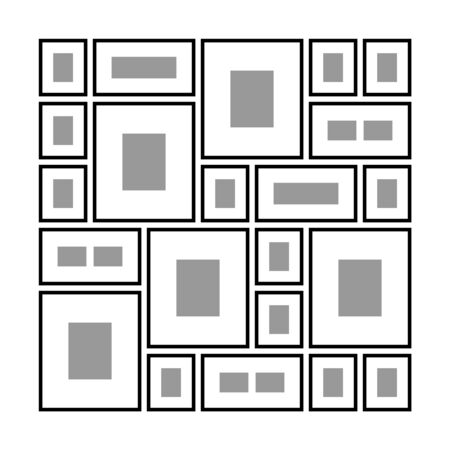 An Example of Arrangement of Photo Frames on the Wall, Different Photo Frames on the Wall , Vector Illustration