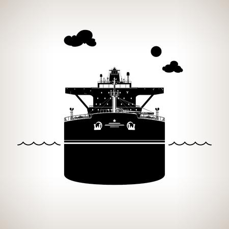 Vista frontal del buque, buque de petróleo sobre fondo claro, Transporte de carga Internacional, la silueta del buque para el transporte de mercancías, ilustración vectorial Ilustración de vector