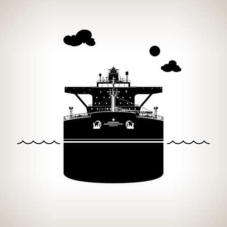 Front View of the Vessel, Oil Tanker on Light Background, International Freight Transportation, Silhouette Vessel for the Transportation of Goods, Vector Illustration