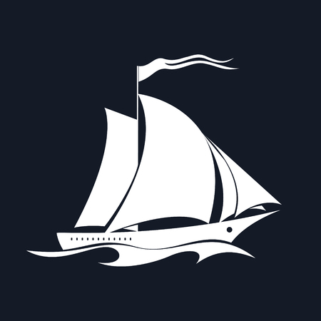 Yacht on the Waves, Sailing Vessel Isolated on Black Background, Travel Concept , Vector Illustration  イラスト・ベクター素材