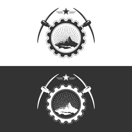 Sunburst e le montagne con Piccone e Star in Gear su bianco e grigio, Mining Industry Logo Design elemento, illustrazione vettoriale Logo