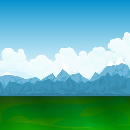 Natural Landscape, Green Field and Mountains, the Mountain with Clouds and Blue Sky,Vector Illustration