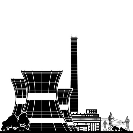 reactor: Silhouette Nuclear Power Plant , Thermal Power Station, Nuclear Reactor and Power Lines, Vector Illustration