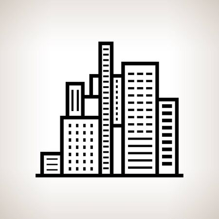 business center: Silhouette modern buildings, business center on a light background , black and white   illustration Stock Photo